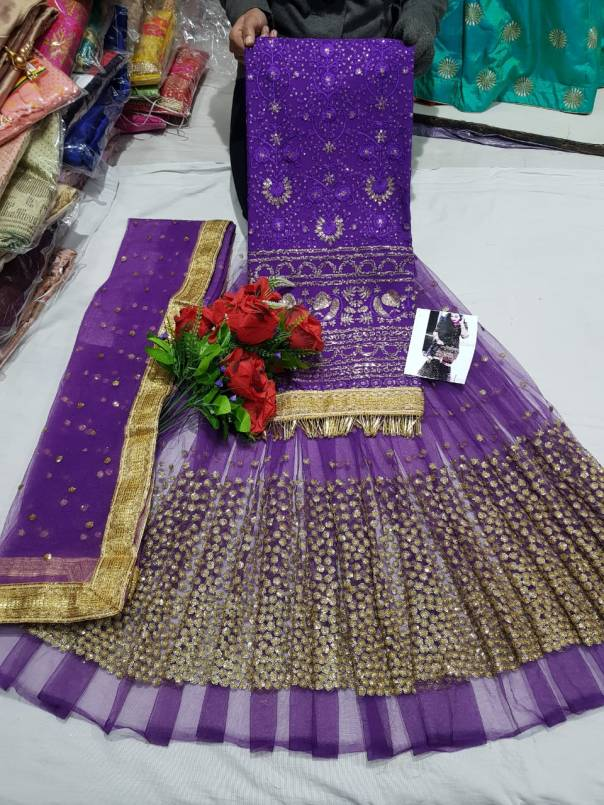 Lucknowi Georgette top net bottom and dupatta